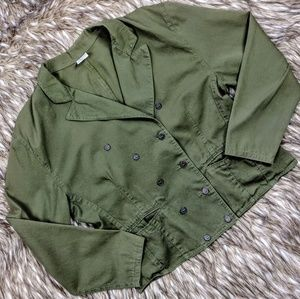 Cotton Double Breasted Blazer in Army Green